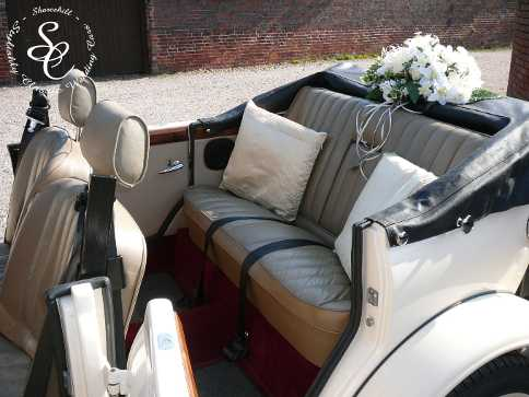 Close up view of the Beauford rear seating with the top down.